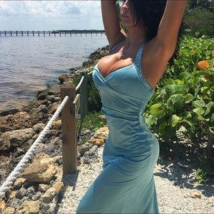 Tiffany Blue Backless Halter Mermaid Maxi